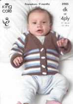 King Cole Baby DK & 4ply Knitting Pattern - 3985 Cardigans